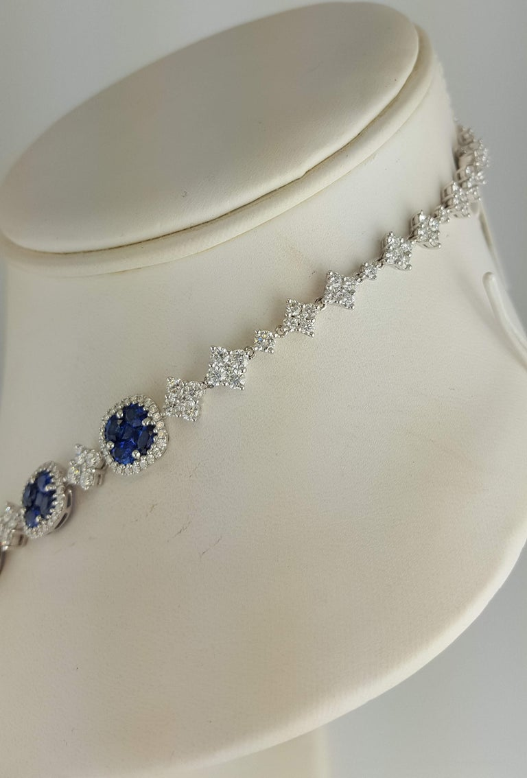 21.23 Carat Vivid Blue Sapphire and Diamond Necklace in 18 Karat White Gold For Sale 1
