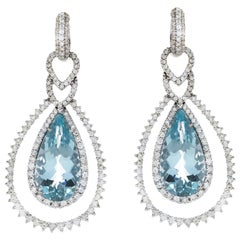 21.28 Carat Aquamarine Diamond 18 Karat White Gold Drop Earrings in Stock