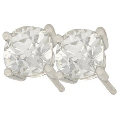 2.12 Carat Diamond and Platinum Stud Earrings, Antique and Contemporary