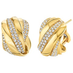 2.13 ct. t.w. Diamond 18k Yellow Gold Multi-Row French Clip Curvy Hoop Earrings