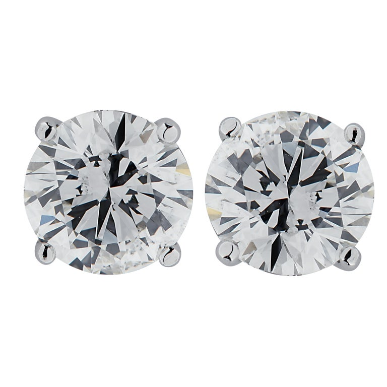 Modern Vivid Diamonds 2.13 Carat Diamond Stud Earrings For Sale