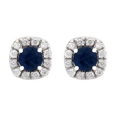 2.13 Carat Natural Sapphire 18 Karat Solid White Gold Diamond Stud Earrings