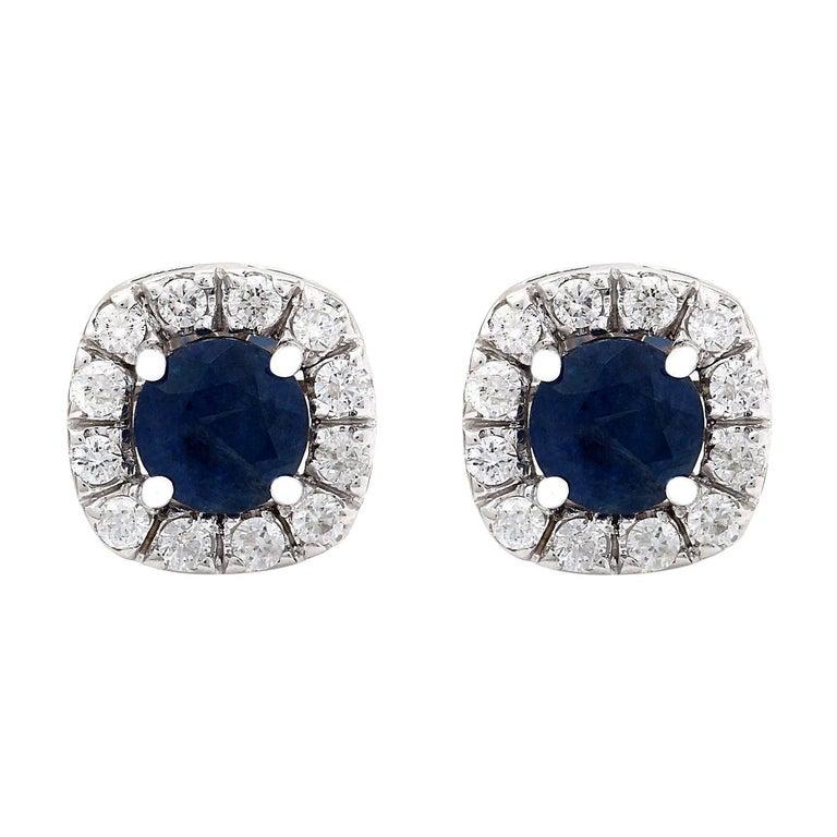 2.13 Carat Natural Sapphire 18 Karat Solid White Gold Diamond Stud Earrings For Sale