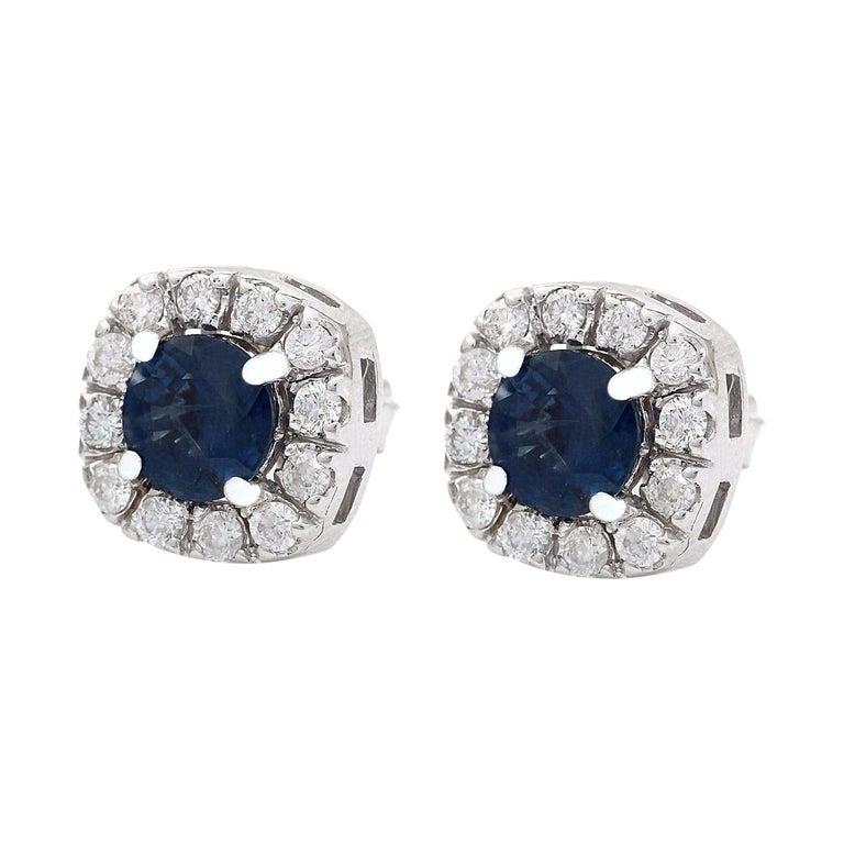 2.13 Carat Natural Ceylon Sapphire 18K Solid White Gold Diamond Stud Earrings  Item Type: Earrings  Item Style: Stud  Item Length: 10.03 mm  Item Width: 10.03 mm  Material: 18K White Gold  Mainstone: Ceylon Sapphire  Stone Color: Blue  Stone Weight: