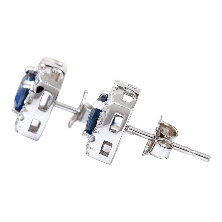 2.13 Carat Natural Sapphire 18 Karat Solid White Gold Diamond Stud Earrings In New Condition For Sale In Los Angeles, CA