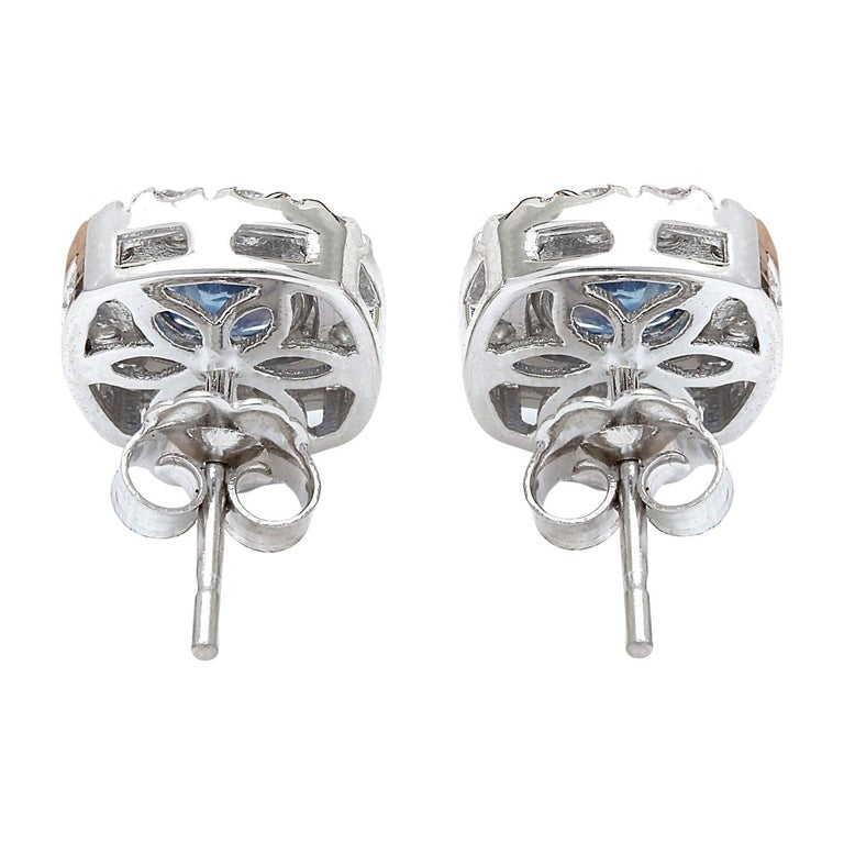 Women's 2.13 Carat Natural Sapphire 18 Karat Solid White Gold Diamond Stud Earrings For Sale