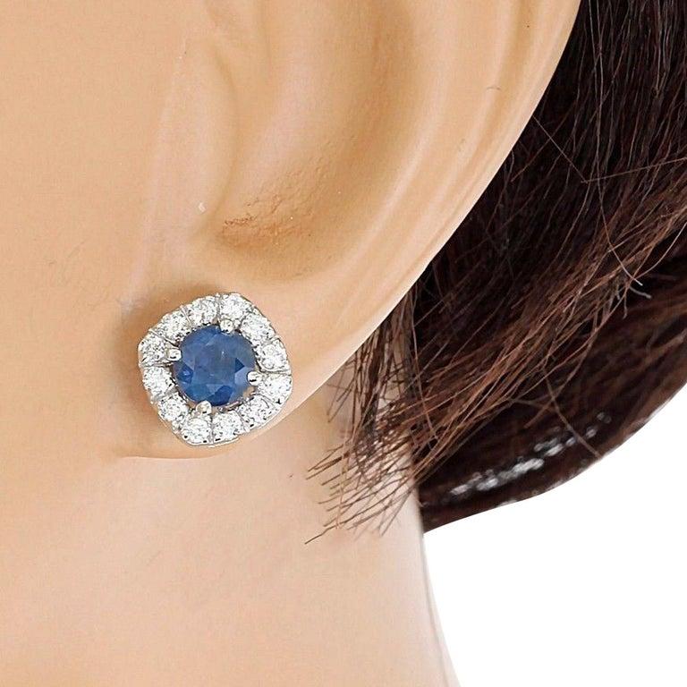 2.13 Carat Natural Sapphire 18 Karat Solid White Gold Diamond Stud Earrings For Sale 1