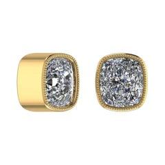 2.13 Carat Old Mine Cut Diamond 18 Carats Yellow Gold Earrings