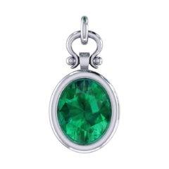 2.13 Carat Oval Cut Emerald Pendant Necklace in 18k