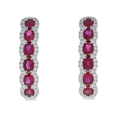 2.13 Carat Oval Cut Ruby and Diamond Earrings, 18 Karat White Gold Pierced Hoops
