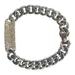 2.13 Carat Pave Diamond ID Bracelet Oxidized Sterling Silver, 14 Karat Gold