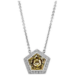 2.13 Carat Pentagon Yellow Diamond Halo Pendant Necklace