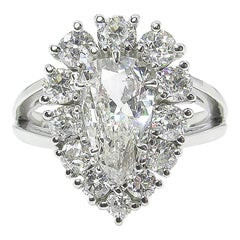 2.13 Carat Vintage Pear Diamond Cluster Engagement Platinum Ring EGL, USA