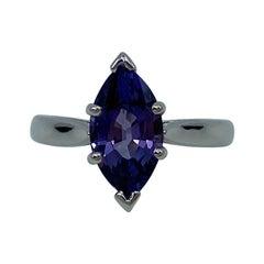 2.13 Carat Vivid Purple Spinel Marquise Cut 18 Karat White Gold Solitaire Ring