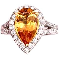 2.13 Carat Yellow Topaz Gold Ring with Diamonds