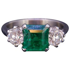 2.13 Carat Colombian Emerald and Diamond 3-Stone Ring Certificated