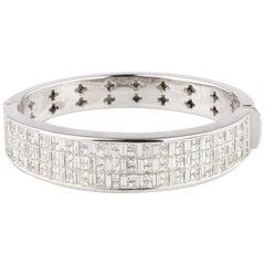 21.30 Carat Diamond Invisibly Set Bangle 18 Karat White Gold Bracelet