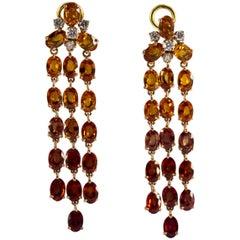 21.30 Carat Yellow Sapphire 0.45 Carat Diamond Clip-On Yellow Gold Earrings