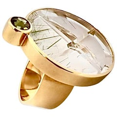 21.32 Carat Rock Crystal Tourmaline Gold Platinum Ring by Atelier Munsteiner