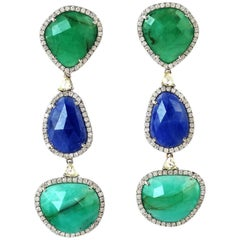 21.37 Carat Emerald Blue Sapphire Diamond 18 Karat Gold Earrings