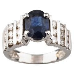2.14 Carat Blue Sapphire Solitaire and Diamond 14 Karat White Gold Ring