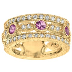 2.14 Carat Natural Pink Sapphire and Diamond Eternity Ring 14 Karat Yellow Gold