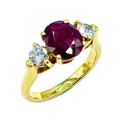 2.14 Carat Oval Ruby and Round Brilliant Diamond 18K Gold Ring