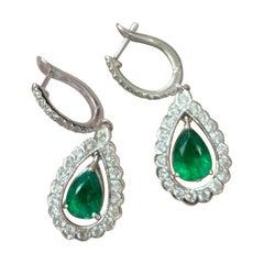 2.14 Carat Pear Shape Emerald and Diamond Dangling Earring