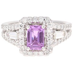 2.14 Carat Pink Sapphire Diamond 14 Karat White Gold Ring GIA Certified