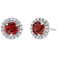2.14 Carat Red Spinel & .32 Carat Diamond 18 Karat White Gold Stud Earrings