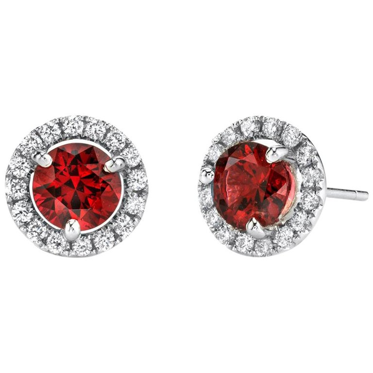 2.14 Carat Red Spinel and 0.32 Carat Diamond 18 Karat White Gold Earrings For Sale