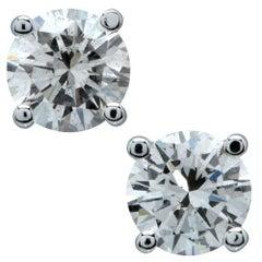 2.14 Carat Round Brilliant Cut Diamond Solitaire Stud Earrings