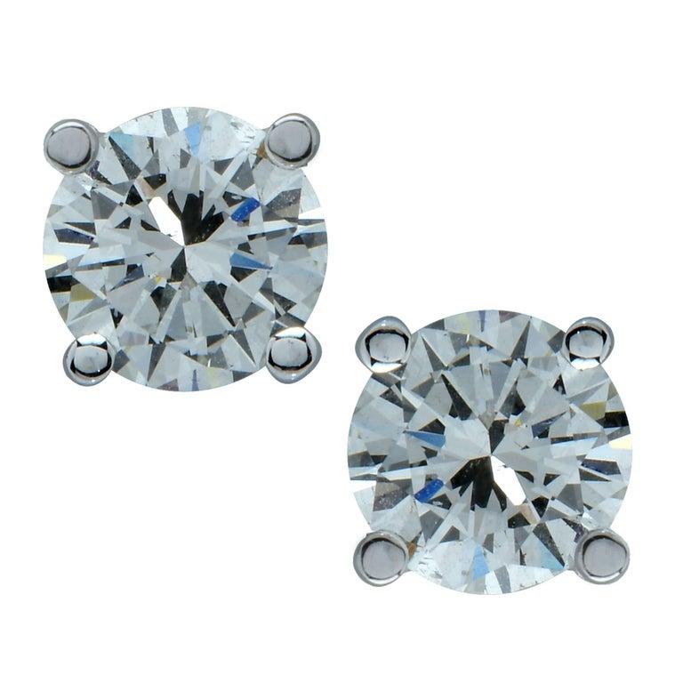 2.14 Carat Round Brilliant Cut Diamond Stud Earrings