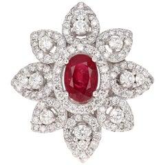 2.14 Carat Ruby Diamond 14 Karat White Gold Cocktail Ring