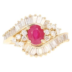2.14 Carat Ruby Diamond 14 Karat Yellow Gold Ballerina Ring