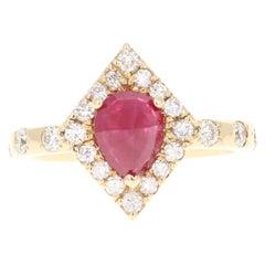 2.14 Carat Ruby Diamond 14 Karat Yellow Gold Ring