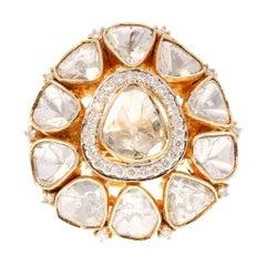 2.14 Carat Total Polki Diamond Ring in 18 Karat Yellow Gold