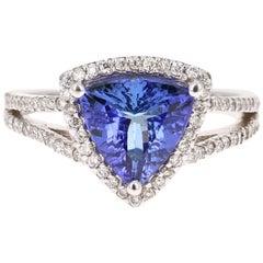 2.14 Carat Trillion Cut Tanzanite Diamond Cocktail Ring 14 Karat White Gold