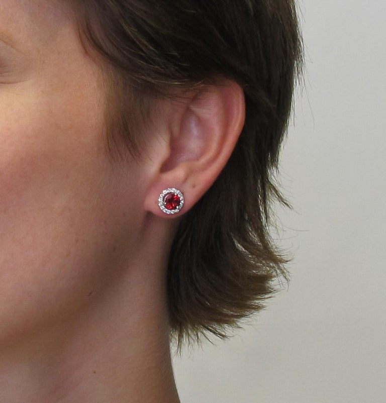 Artisan 2.14 Carat Red Spinel and 0.32 Carat Diamond 18 Karat White Gold Earrings For Sale