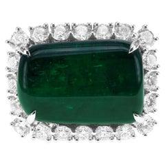 21.40 Carat Vivid Green Tumble Shaped Emerald 2.63 Carat Diamond Cocktail RIng