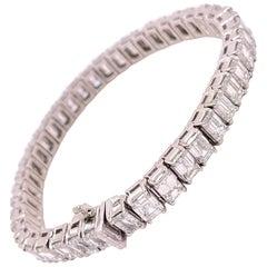 21.40 Carats Emerald Cuts Tennis Bracelet Platinum Mounting