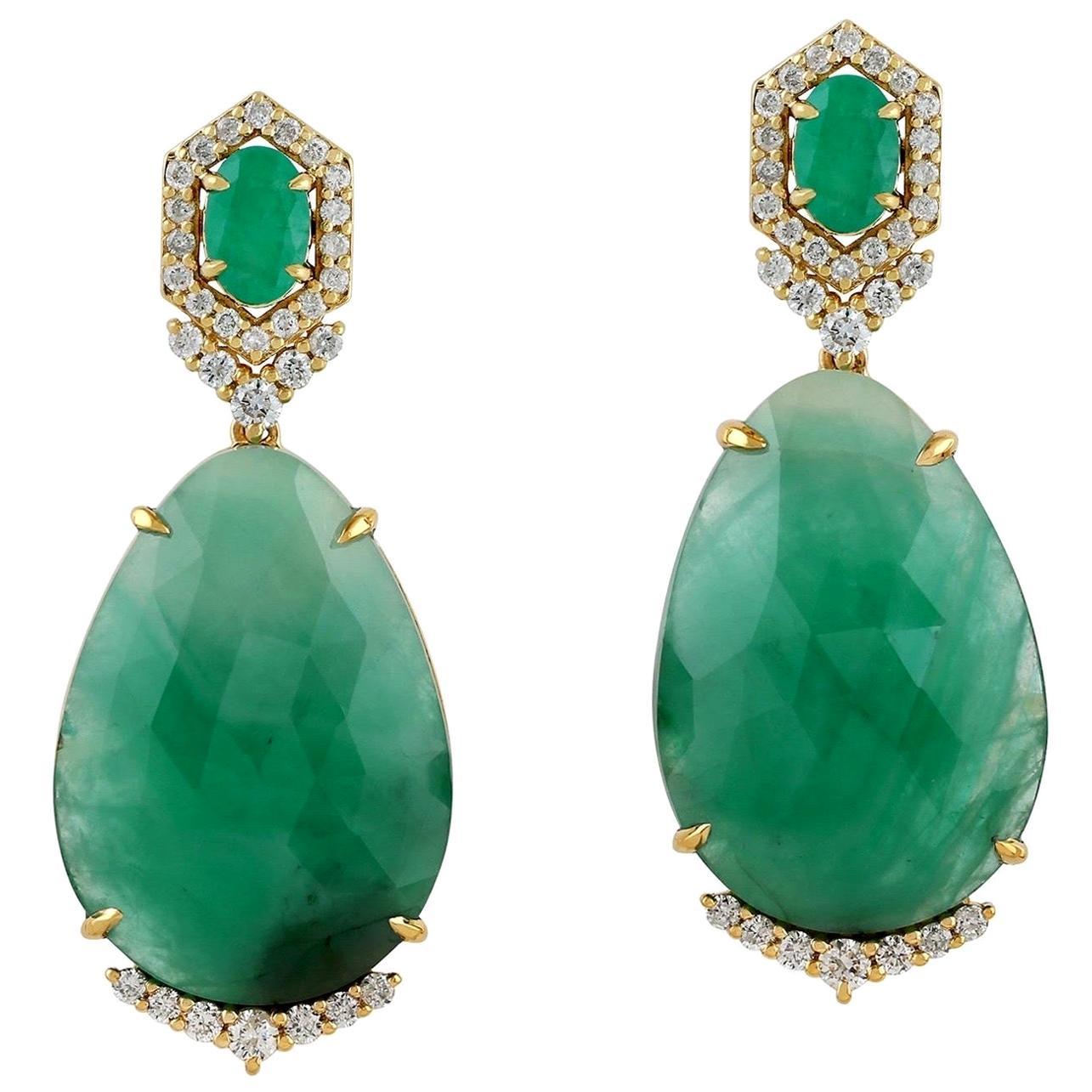 21.43 Carat Emerald Diamond 18 Karat Gold Earrings