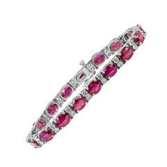 21.44 Carat Oval Cut Ruby and Diamond Bracelet