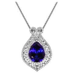 21.46 Carat Pear Shape Tanzanite Diamond Halo Pendant Necklace Fancy 18K Gold