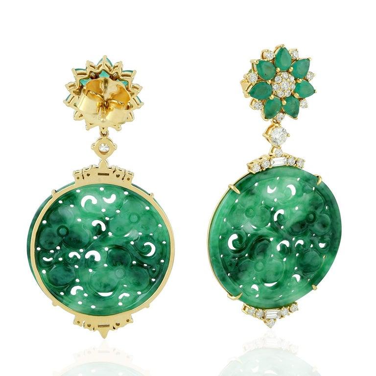 Artisan 21.48 Carat Carved Jade Emerald 18 Karat Gold Diamond Earrings For Sale