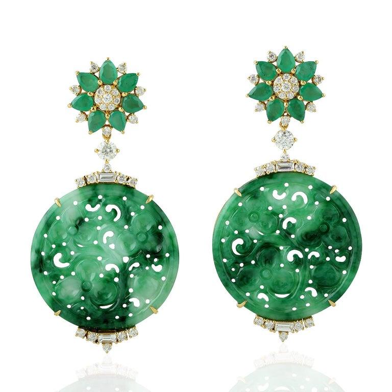 Mixed Cut 21.48 Carat Carved Jade Emerald 18 Karat Gold Diamond Earrings For Sale
