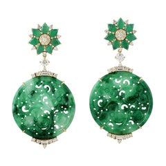 21.48 Carat Carved Jade Emerald 18 Karat Gold Diamond Earrings