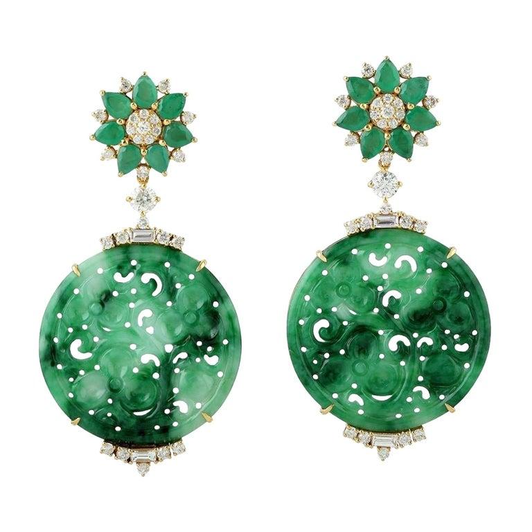 21.48 Carat Carved Jade Emerald 18 Karat Gold Diamond Earrings For Sale