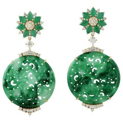 21.48 Carat Carved Jade Emerald 18 Karat Gold Diamond Earrings