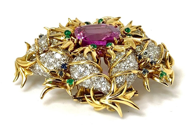 Artisan Tiffany & Co. by Sonia Younis, 21.49 Carat Pink Sapphire 18k and Platinum Brooch For Sale